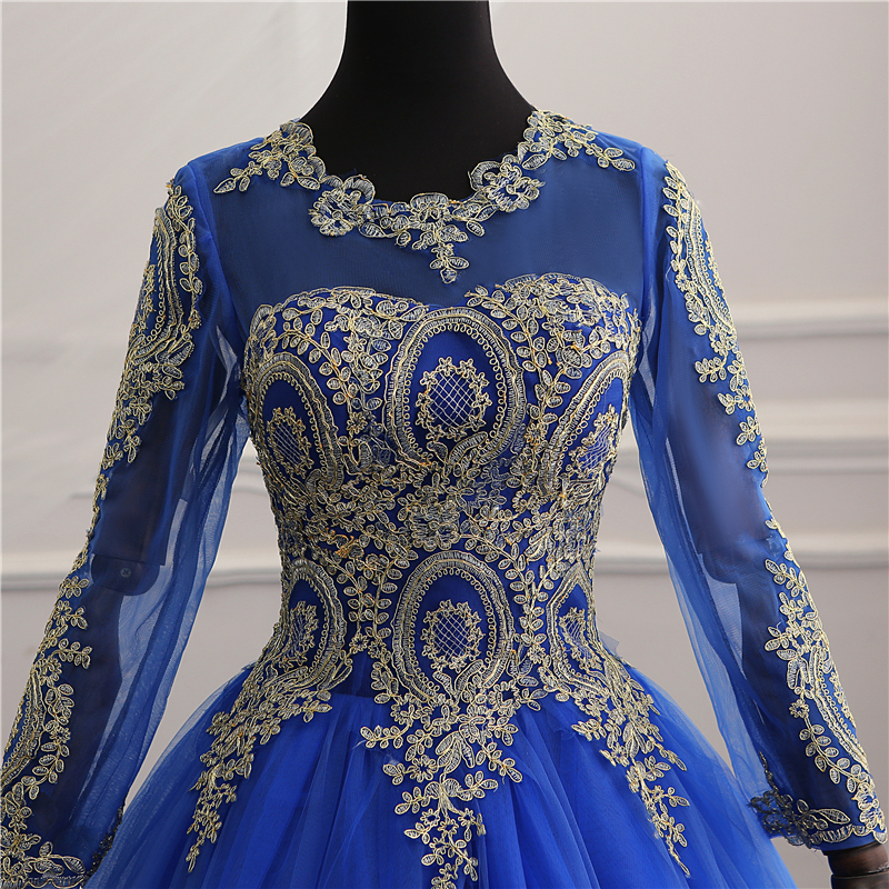 8 Layers New Vestidos de Noiva Royal blue tull Vintage Long Sleeve Wedding Dress Gold Lace Embroidery Bride wedding Gowns Custom