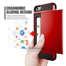 Card Pocket Slim Wallet Case Cover for iPhone 5 5s SE 6s 6 7 Plus Slide Armor ID Card Holder Pocket Wallet Phone Case for iPhone(China)