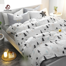 ParkShin Christmas Tree Art Printed Bedding Set Kids Bedspread Duvet Cover Set Cute 100% Cotton Bed Set With Flat Sheet