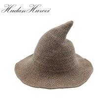 Otoño Invierno lana espesada bruja sombrero puntiagudo plegable punto  asistente Cap ala ancha sombreros del cubo 0dec663ec58