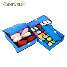 DINIWELL Drop Shipping Underwear Organizer Closet Drawer Blue Storage Box  For Socks Ties Bra Lingerie Home Organiser Supply