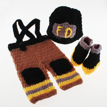 Crochet Pattern Baby Firefighter Outfit Newborn Photo Prop Clothes Baby Fireman Hat with Suspenders & Boots H172