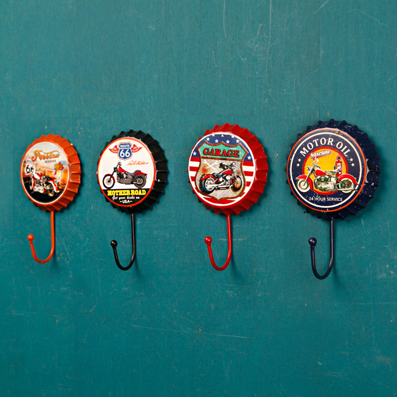 6pcs Retro creative beer cover personality coat hanger/ clothing store coat hook the fitting room/ bar hotel decoration(China)