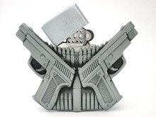 Double Gun Bullets Removable Lighter Belt Buckle(China)