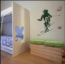 Home Decor Art Decal Skiing Board Skiing Sports Sticker Bedroom Wall Pictures Plane Wall Sticker Wall Pictures(China)