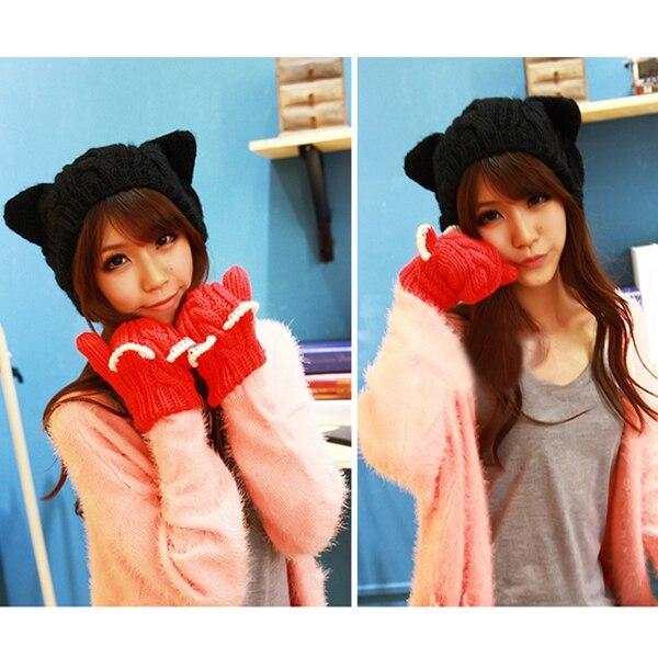 Fashion Casual women Girls Winter Warm Knitting Wool Cat Ear Beanie skullies Hat Cap