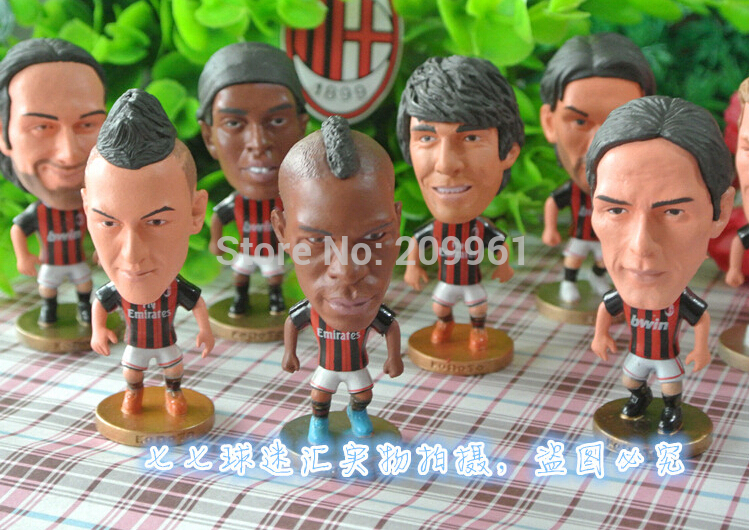 16 Pcs/set free shipping AC Milan football soccer player star collection display dolls cartoon toys Inzaghi Pato MENEZ DE JONG<br><br>Aliexpress