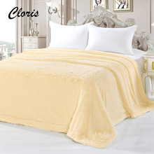 CLORIS 2017 Moscow Delivery Plaid Fluffy Blanket On The Bed Luxury Brand Solid Sofa Bed Quilt High Quality Adult Bedspread Cover