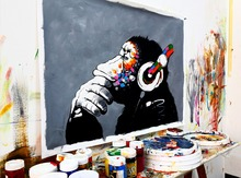 Modern Style Banksy Street Art  DJ MONKEY Canvas painting  plus 100% hand touch up/ hand embellishment  Home decor Unframed