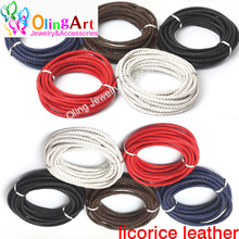 OlingArt 5mm 2M Multicolor Round Genuine Braided Leather Cord women earrings Bracelet choker necklace wire DIY jewelry making