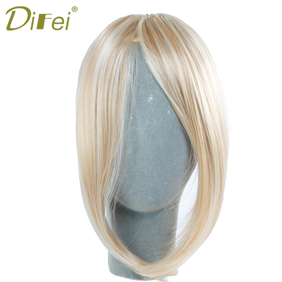 DIFEI Short Pure Color Multicolor Straigst Women Clip Middle Part Bangs High Temperature Fiber
