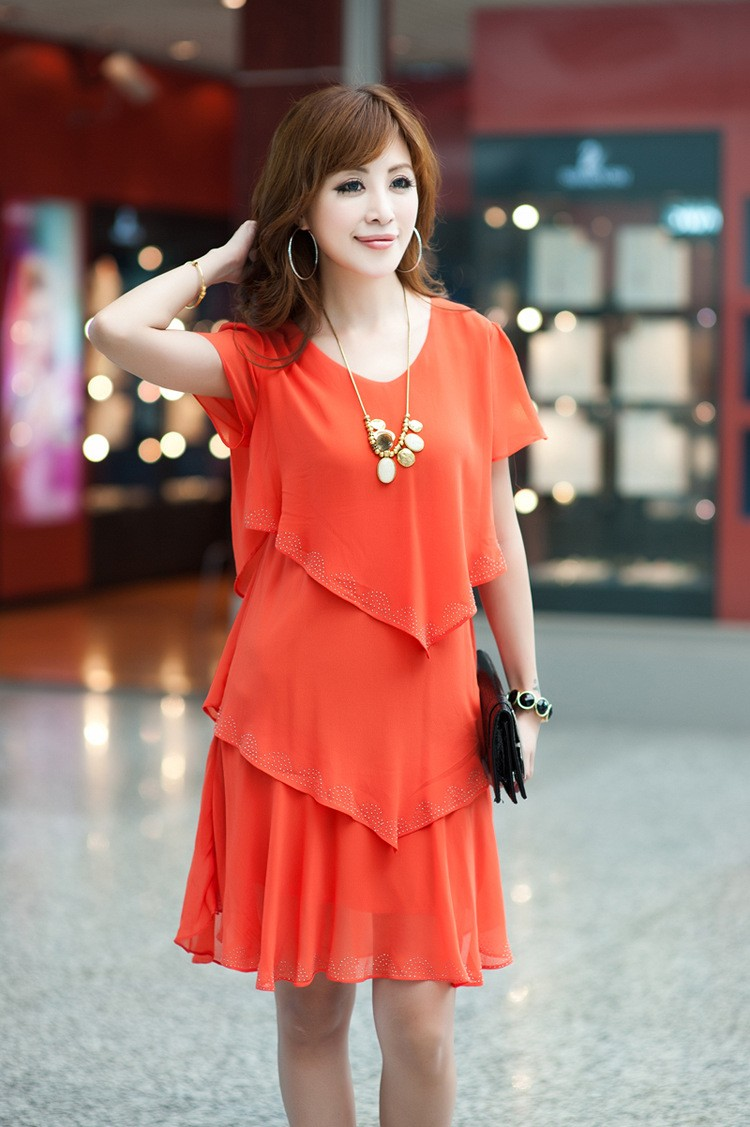 Vestido De Festa Summer Dresses 5XL Plus Size Women Clothing ropa mujer 18 Chiffon Dress Party Short Sleeve Casual Blue Black 18