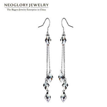 Neoglory Blue Crystal Long Tassel Wedding Dangle Drop Earrings For Women Vintage Gifts Fashion Jewelry 2017 New