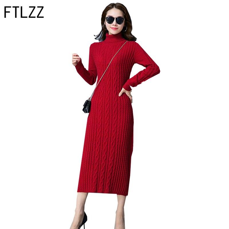 Ftlzz Hot Selling Solid Colour Autumn Winter Women Sweater Dress Fashion Straight Mid-calf Long Sleeves Woolen Knitted DressÎäåæäà è àêñåññóàðû<br><br>