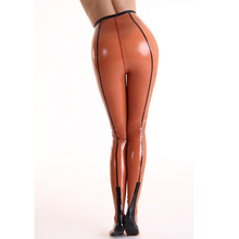 Buy Women sexy orange latex tights trousers socks woman 100% natural rubber leggings plus size hot sale Customize service