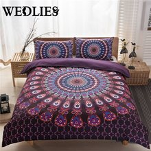Indian Bedding Cover Boho Style Bedding Indian Duvet Cover 200x230cm and Two Pillowcases 48x74cm Purple/Black