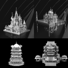 Mini Diy Fun 3D Metal Puzzle Historic Building Vasily Cathedral Taj Mahal Adult Jigsaw Children Educational Model Puzzle Toy