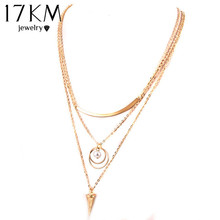 17KM Punk Style Necklaces Women Fashion Simulated Pearl Multilayer Chain Gold Color Necklace 2017 Trendy Jewelry Gift(China)