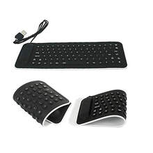 Del Portable USB Mini Flexible Silicone PC Keyboard Foldable for Laptop Notebook Black May30(China)