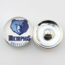 Fashion Basketball NBA Memphis Grizzlies Snap Button Sports Charms for DIY 18mm Snap Bracelet Jewelry 10pcs/lot