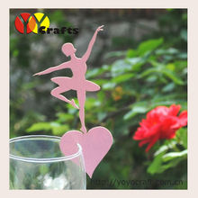 best sell unique ballet girl laser cut cube place card holder