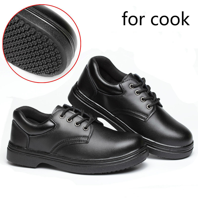 men's black large size steel toe cap work safety shoes soft leather  non-slip kitchen chef cook dress hotel tooling boots zapatos