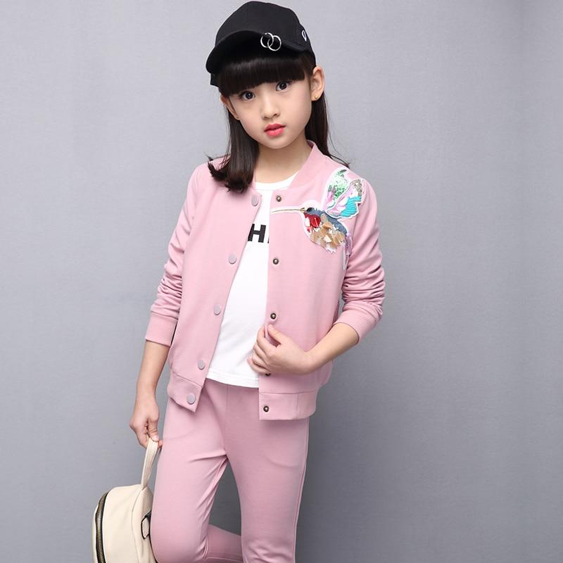 Spring Children Clothing Big Girls Clothing Sets Long Sleeve Birds Embroidered Sequin Jackets+ Long Pants 2pcs Kids Clothing Set<br>