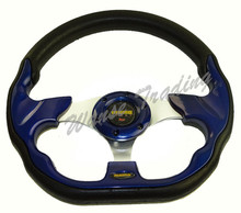 Sale New Universal 320mm PU Leather Racing Sports Auto Car Steering Wheel with Horn Button 12.5 inches Blue