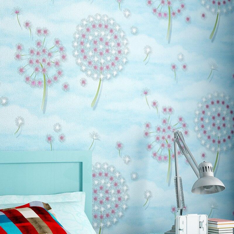 beibehang pastoral dandelion non woven Wallpaper roll Papel De Parede 3D Wall paper Decorative Living room Bedroom contact-paper<br>