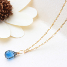 PINJEAS  Crystal Necklace/Blue Crystal Delicate quality Natural Simple Rock handmade Retro Trend pendant jewelry