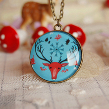 Christmas Elk Deer Head Necklace Personalized Winter Jewelry Vintage Long Necklaces Best Christmas Gifts XL053