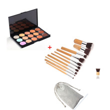 11 Pcs Bamboo Handle Makeup Brush+15 Color Concealer Neutral Palette Contour Cream Kit Face Makeup Eyeshadow Cosmetic MOSS(China)