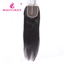Beauty Grace Brazilian Straight Lace Closure 4x4 Remy 100% Human Hair With Baby Hair Middle Part Top Closures 1 Bundle(China)