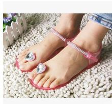 New Summer models crystal jelly sandals flat sandals clip toe beach plastic shoes love rhinestone angle
