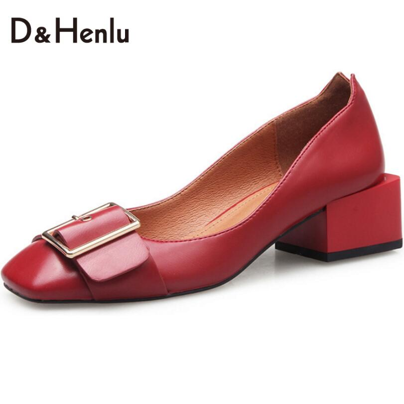 {D&amp;H}Genuine Leather Shoes Woman 2017 Spring Buckle Thick High Heels Medium Heel  Pumps Women Square Toe Single shoes Gift Socks<br><br>Aliexpress