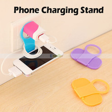 Convenient Mobile Cell Phone Foldable Wall Charger Holder Hanger Charging Rack Shelf for iPhone/Samsung/HTC