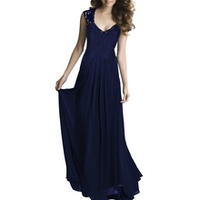 New Women's Elegant Sleeveless V Neck Lace Embroidery Chiffon Floor Length Dress Robe Vestidos Evening Party Long Dresses Z178