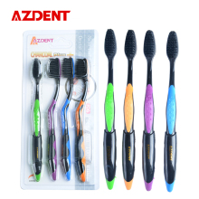 AZDENT Hot 4PCS Double Ultra Soft Toothbrush Bamboo Charcoal Nano Brush Oral Care 625 Nano-antibacterial Toothbrush Black Heads
