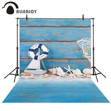 Allenjoy baby backdrop conch starfish shells swimming ring toy blue wood board for children photocall photography studio(China)