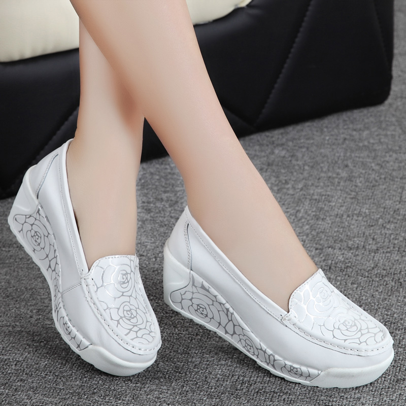 2016 Genuine leather platform womens casual shoes comfort work nurse shoes wedges breathable swing<br><br>Aliexpress