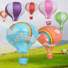 10pc/lot 12inch Bright Color Rainbow Hot Air Balloon Paper Lantern For Wedding Birthday Party Decoration Stripe Lanterns 30cm