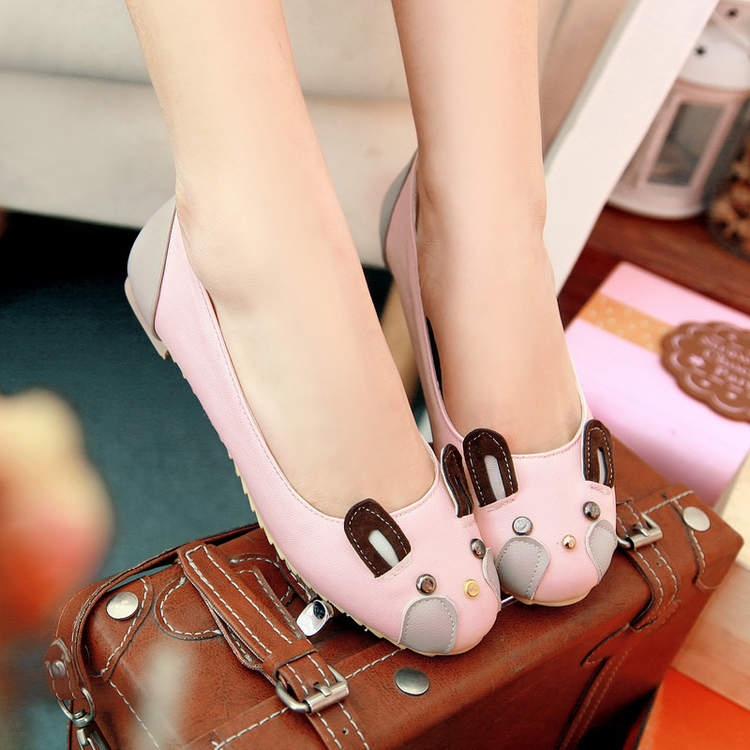 Sweet Girls Kawaii Cartoon Rabbit Round Toe Soft Shoes Princess Sweet Lolita Cosplay Shoes<br>