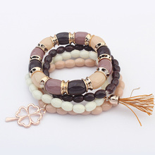 Ethnic Bohemia Beads Resin Clover Tassel Multilayer Bracelets Charm Bracelet Colorful Simple Fashion Jewelry For Women Wholesale