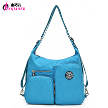 JINQIAOER Waterproof Nylon Brand Women Shoulder Bags Multifunctional Double Layer Messenger Bag Back Pack Travel Bag For Girl(China)