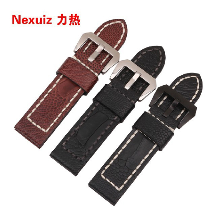 New fashion Watchbands Ostrich leather+cowhide Skin 22MM 24MM 26MM For brand watches men thickner watch bracelet Free shipping<br>