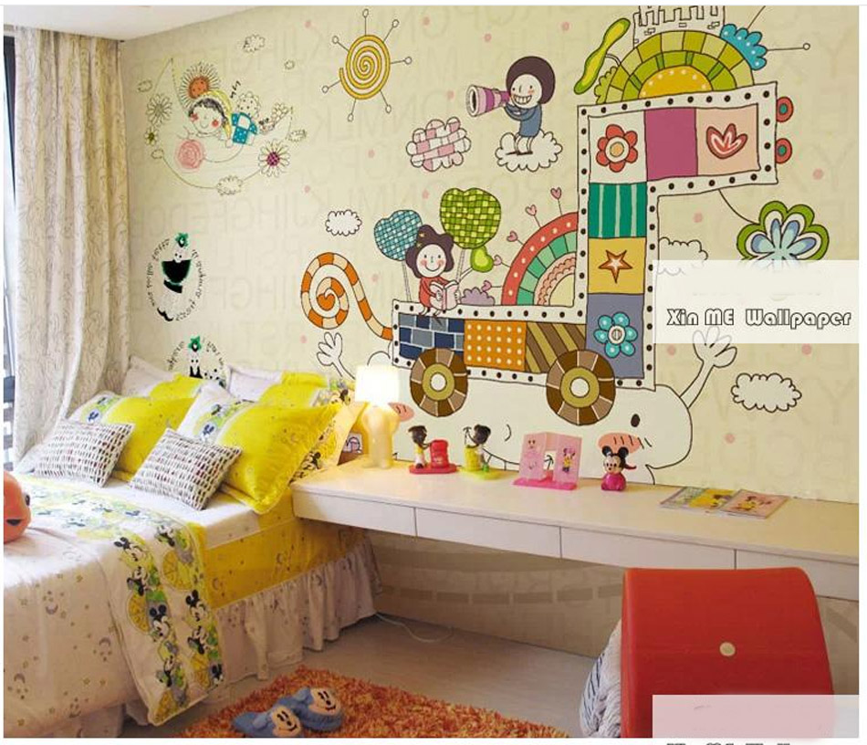 Cute Cartoon Travel Animal Girrafe Wallpaper Mural Rolls Hotel Playgroup Kindergarten Kids Bedroom Background Decor Customized<br><br>Aliexpress
