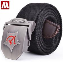 2018 New Men Automatic buckle Belt Thicken Canvas belts Communist Military Belt Army Tactical Belts High Quality Strap 110 140CM(China)