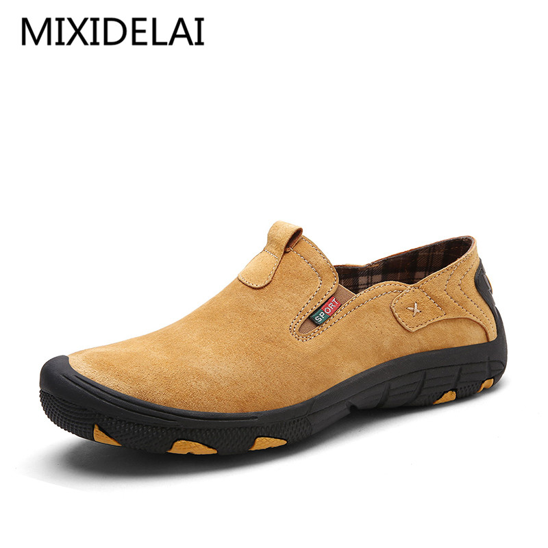 Brand Men Real Suede Leather Casual Shoes Breathable Comfort Quality Men Shoes Open Shoes Fashion Non-Slip Casual Flats<br>