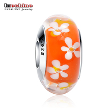 LZESHINE Fashion Flower Orange Murano Glass Beads Fit Original Charm Bracelet 925 Sterling Silver Jewelry Accessories PSGB0066(China)