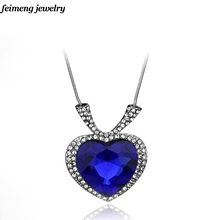Free shipping High Quality Titanic Ocean Blue Heart Necklaces Pendants For Women Accessories Beauty for party